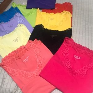 COLDWATER LACE TRIMMED TANK TOPS. SIZE 1X/18